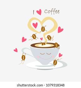 cute cartoon coffee beans have fun in hot coffee cup