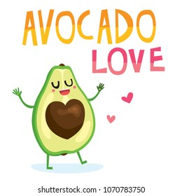 Cute cartoon color avocado happy character. Romantic Valentine card print design