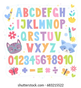 Cute cartoon colorful alphabet for children with hand drawn typography, letters and figures, isolated on white background