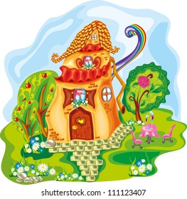 cute cartoon colorful house with rainbow