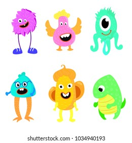 Cute cartoon colorful mosters. Set of cartoon monsters. Vector illustration.