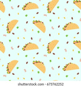 Cute cartoon colorful seamless pattern with mexican food tacos, corn, lettuce and  bean. Nice fastfood pattern for textile, cafe and restaurant wrapping paper, covers, banners, background, wallpaper.