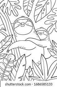 Coloring Book Sloth High Res Stock Images Shutterstock