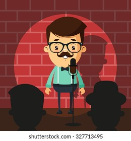Cute Cartoon Comedian Doing Stand Up. Colorful Vector Illustration