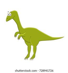 Cute cartoon compsognathus.  Cartoon dinosaur. Vector illustration of dinosaur isolated on white background.