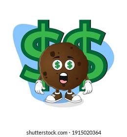Cute Cartoon Cookie Wealthy with Money Eyes, Good Design For Character Theme