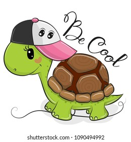Cute Cartoon Cool turtle with a pink cap