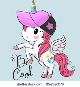 Cute Cartoon Cool unicorn with a pink cap