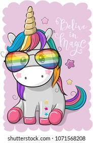 Cute Cartoon Cool unicorn with sun glasses