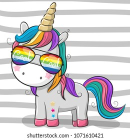 Cute Cartoon Cool unicorn with sun glasses