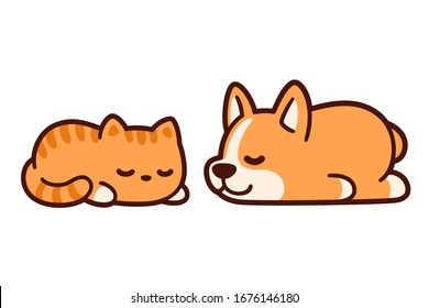 Cute cartoon corgi puppy and ginger kitten sleeping together. Adorable sleeping cat and dog drawing, vector illustration.