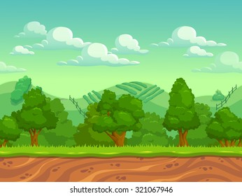 Cute cartoon country seamless horizontal landscape, nature vector illustration