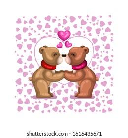 Cute Cartoon Couple of Bear Kissing Falling in Love