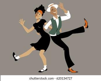 Cute cartoon couple dancing lindy hop or swing, EPS 8 vector illustration, no transparencies