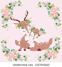 cute cartoon a couple dear with flower crown in floral frame on pink background, vintage color greeting card,illustration vector doodle comic art.