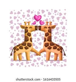 Cute Cartoon Couple Giraffe Kissing Falling in Love