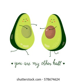 Cute cartoon couple of halves avocado in love. Valentine's Day greeting card. Vector illustration.