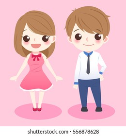 cute cartoon couple stand and smile to you