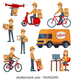 Cute cartoon courier characters with delivery box. Delivery by drone, scooter, bicycle. Delivery courier on scooter vector illustration