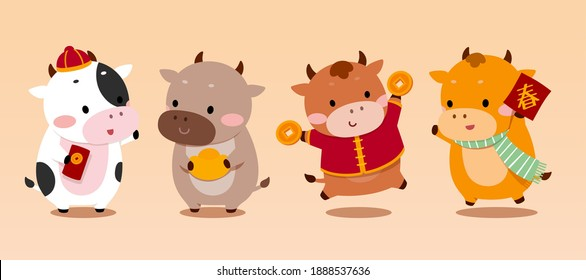 Cute cartoon cow characters isolated on beige background. Concept of 2021 Chinese zodiac sign ox. Translation: Spring