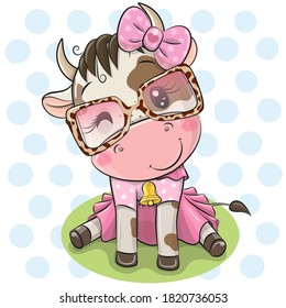 Cute Cartoon Cow with dress and glasses