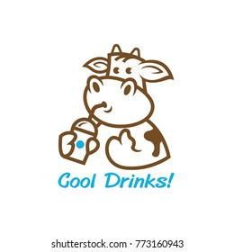 a cute cartoon cow with a drinks