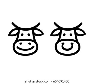 Cute cartoon cow face icon, smiling and with nose ring. Hand drawn doodle style logo illustration.