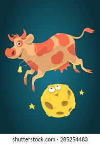 Cute cartoon cow jumps over the friendly funny moon