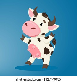 Cute cartoon cow, rejoices, stands on its hooves and smiles.