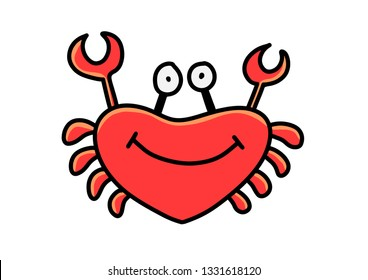Cute cartoon crab isolated on white background.Vector illustration.