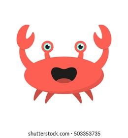 Cute cartoon crab isolated on white background. Red crab in flat style