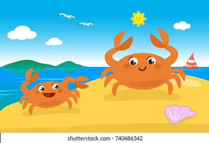 Cute cartoon crab mom and child on the sand, vector illustration