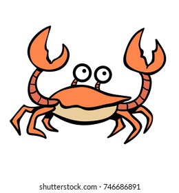 cute cartoon crab waving its claws
