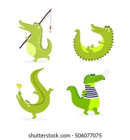 Cute cartoon crocodile character green zoo animal
