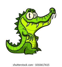 Cute cartoon crocodile flat vector style.