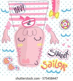 Cute cartoon crocodile girl in sailor costume on polka dots background illustration vector.