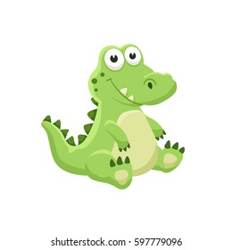 Cute cartoon crocodile. Illustration of sitting alligator isolated on white background.