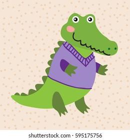 Cute cartoon crocodile on a beige background