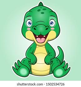 A cute cartoon of crocodile or porosus sitting with green background.