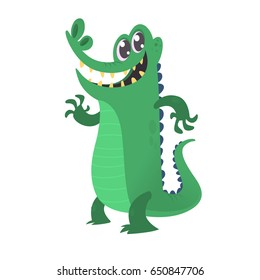 Cute cartoon crocodile. Vector illustration of alligator waving hand isolated on white background. Design for t-shirt, mug, bag lunchbox, wallpaper, wrapper, logo, poster and banner design for kids