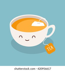 Cute cartoon cup of green tea. Vector illustration