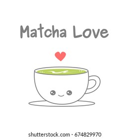 cute cartoon cup of matcha latte vector illustration isolated on white background