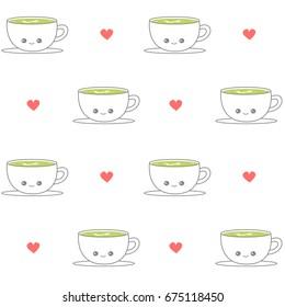 cute cartoon cup of mocha latte seamless vector pattern background illustration
