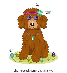 Cute cartoon curly brown hippie dog sits on a lawn. Smiling dog wears blue sunglasses, bandana with flower and pendant. Bees fly near a hound. Isolated vector illustration with a happy dog.