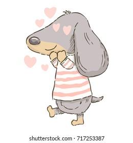 Cute cartoon Dachshund feeling in love, vector