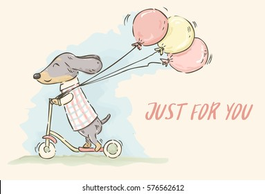 Cute cartoon Dachshund riding scooter and holding balloons in watercolor style, vector