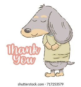 Cute cartoon Dachshund taking a bow with text thank you, vector