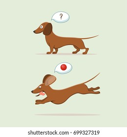 Cute cartoon dachshund.Vector illustration.