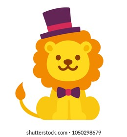 Cute cartoon dandy lion with top hat and bow tie. Funny vector illustration for kids.