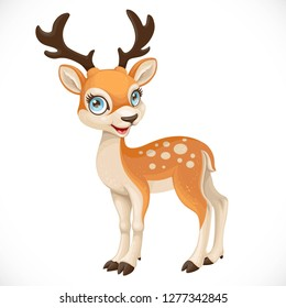 Cute cartoon dappled deer isolated on a white background